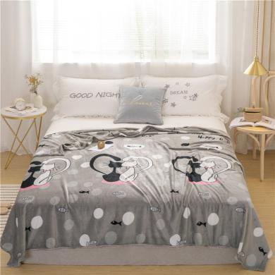 品卧家纺 法兰绒毛毯冬季加厚绒毯 毯子 可做盖毯床单使用