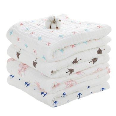 艾茵美婴儿浴巾纯棉纱布宝宝洗澡巾新生儿盖毯儿童毛巾被棉吸水加厚