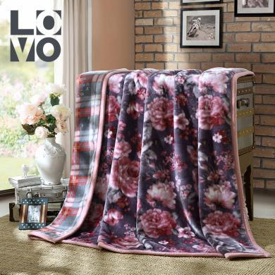 LOVO家紡秋冬保暖毛毯加厚加大絨毯雙層防靜電拉舍爾毯中式花卉瀟然夢