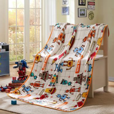 LOVO家紡兒童毛毯秋冬蓄暖親膚絨毯卡通萌趣可愛印花法蘭絨毯萌寶小企鵝