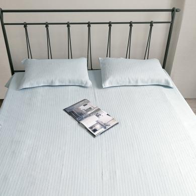 心归坊 2019新款亚麻棉凉席枕巾床品三件套 简约舒适夏季厚床单空调凉席可裸睡双人床单