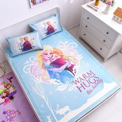 迪士尼家紡  卡通冰絲涼席加密提花冰絲面料涼席套件空調席軟席