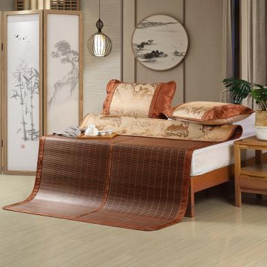 水星家紡竹席1.5 1.8米床雙人涼席夏季墨山淺畫雙面竹席