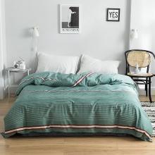 DREAM HOME 床品单件纯棉被套单人被罩双人床全棉简约条纹格子单被套623603-4