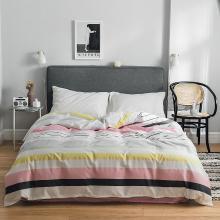 DREAM HOME 床品单件纯棉被套单人被罩双人床全棉简约条纹格子单被套623603-2