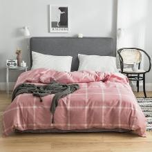 DREAM HOME 床品单件纯棉被套单人被罩双人床全棉简约条纹格子单被套623603-1