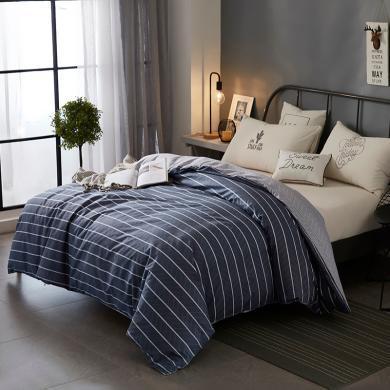 DREAM HOME 床品單件全棉簡歐單被套單雙人學生幾何圖案條紋純棉被套417215-2