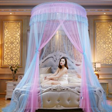 VIPLIFE拼色双层吸盘公主蚊帐宫廷吊挂圆顶床幔式蚊帐
