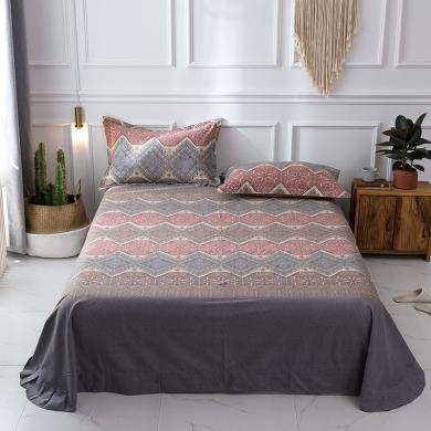 羽芯家纺  秋冬全棉加厚磨毛良品风单件床单+枕套