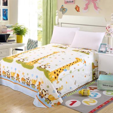 DREAM HOME 單品全棉床單 純棉床單 單人床單雙人床單 兒童床單卡通【配枕套】448178-2