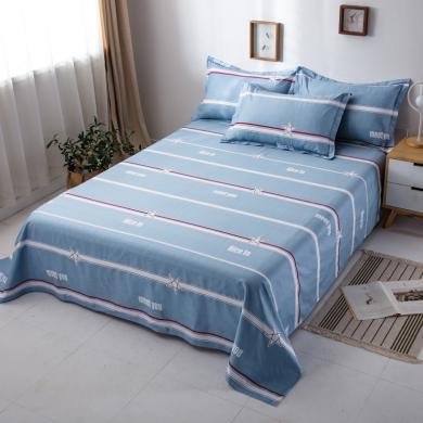 DREAM HOME 单品全棉印花床单 纯棉床单 单人床单双人床单 深色系【配枕套】647630-1