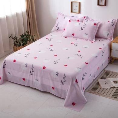 DREAM HOME 單品全棉印花床單 純棉床單 單人床單雙人床單 植物花卉【配枕套】647630-3