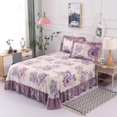 DREAM HOME 【送枕套】印花床裙式床單 單品床單 全棉床單 純棉床單 719477/563