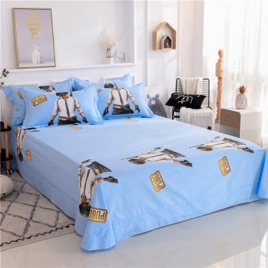 DREAM HOME  全棉卡通印花兒童床單全棉大阪單品床單藍色系【不含枕套】636864-2