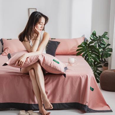 DREAM HOME 【送枕套】全棉單床單純棉床單貢緞寬邊單品床單709804/709811