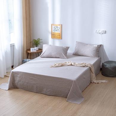 DREAM HOME 全棉色織水洗棉單品床單純棉床單1.5米床單1.8米2米床床單728036/727011枕套不單賣