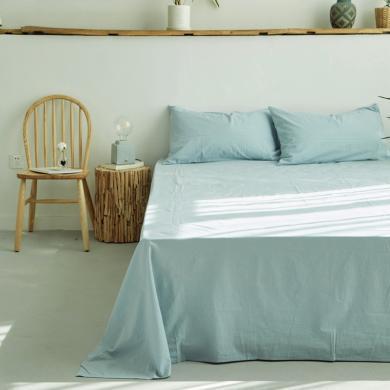 DREAM HOME 床品单件纯色全棉床单全棉床笠单人双人床水洗棉床单/床笠476792-1