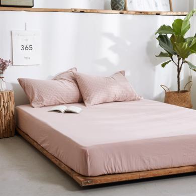 DREAM HOME 床品單件純色全棉床單全棉床笠單人雙人床水洗棉床單/床笠476792-2