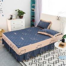 羽芯家紡 純棉夾棉床罩 全棉加厚保暖床裙床套YC860005