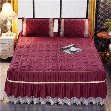 羽芯家纺 简约时尚法莱绒夹棉床裙(含枕套 )、夹棉被套可选