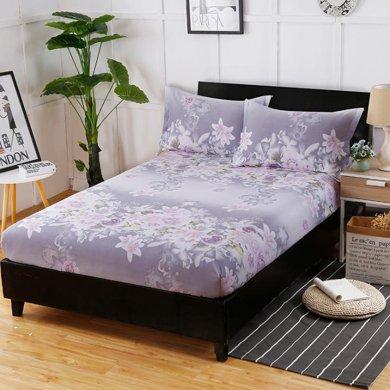 羽芯家紡 全棉斜紋印花單品床笠+枕套一對
