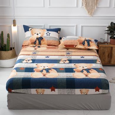 羽芯家纺  全棉加厚磨毛良品风单件床笠+枕套