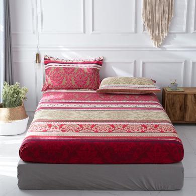 羽芯家紡  全棉加厚磨毛良品風單件床笠+枕套