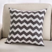 KIKIHOME 简约沙发靠垫抱枕全棉毛巾绣几何客厅欧式靠背床头靠枕 灰色系