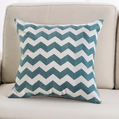 KIKIHOME 簡約沙發靠墊抱枕全棉毛巾繡幾何客廳歐式靠背床頭靠枕 湖藍系