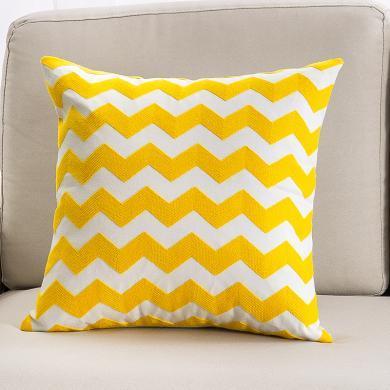 KIKIHOME 簡約沙發靠墊抱枕全棉毛巾繡幾何客廳歐式靠背床頭靠枕