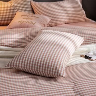 DREAM HOME 新款全棉色织水洗棉纯棉单?#25628;?#29983;枕套 【一对装】556043-2