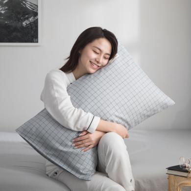 DREAM HOME 新款全棉色织水洗棉纯棉单?#25628;?#29983;枕套 【一对装】640062-1