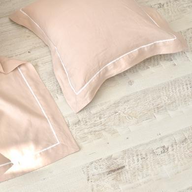 ALIYAH 純亞麻鑲邊簡約素色抱枕靠墊 多功能抱枕汽車靠墊沙發枕一個 不含枕芯