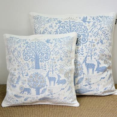ALIYAH 亚麻棉印花抱枕靠垫 提花亚麻沙发靠枕伊甸园印花床上抱枕枕套一个 不含枕芯