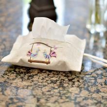 心归坊 原创设计纯亚麻绣花纸抽盒纸巾袋整理收纳盒可水洗耐磨纸抽袋