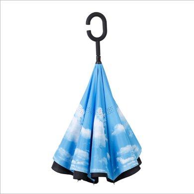反折伞创意双层反向伞 免持超大长柄伞 商务汽?#30331;?#38632;伞广告伞