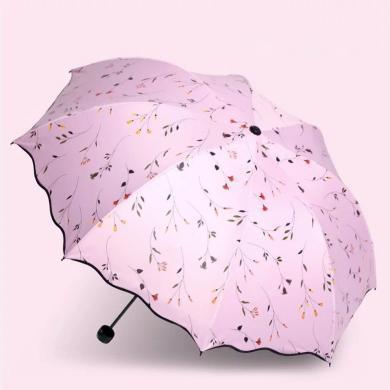 漂亮防紫外线太阳伞防晒遮阳伞女雨伞折叠小清新晴雨两用