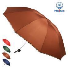 【包邮】Hailuo海螺 咖啡色简约三折晴雨伞遮阳伞10根钢制骨架折叠伞高密度拒水防风挡雨雪轻巧男女便携商务伞