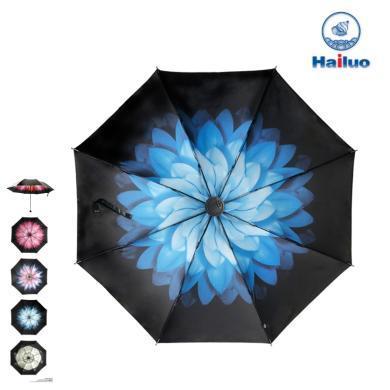 【包郵】Hailuo海螺 紫色雛菊三折小黑傘防曬傘8根鋼制骨架折疊黑膠傘抵抗紫外線遮陽防風擋雨雪高密度拒水輕巧便攜傘