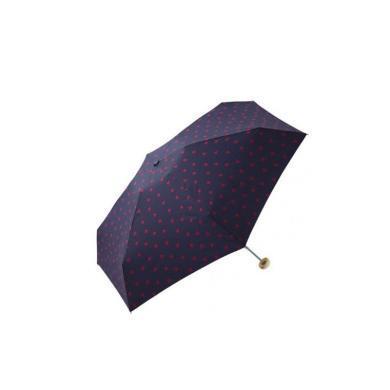 【支持購物卡】日本W.P.C 晴雨兩用折疊傘 藍底紅心款mini NO.424-126 深藍色雨傘