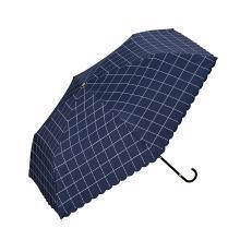 【支持購物卡】日本W.P.C 晴雨兩用折疊傘 遮光格子款mini NO.801-567 深藍香港直郵