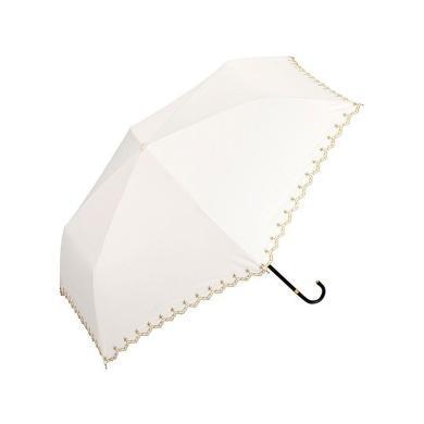 【支持購物卡】日本W.P.C 晴雨兩用折疊傘 遮光星星刺繡款mini NO. 801-972 米白雨傘