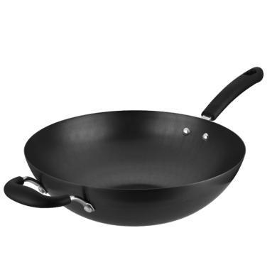 愛仕達炒鍋超輕圓底無涂層熟鐵鍋燃氣專用不銹鐵鍋防銹NNT8430/32/34系列-黑色