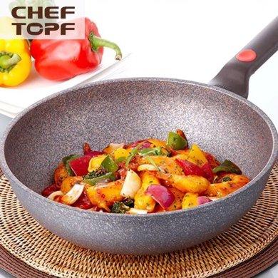 cheftopf韓國進口花崗巖涂層少油煙鍋不粘炒鍋不生銹燃氣專用30CM