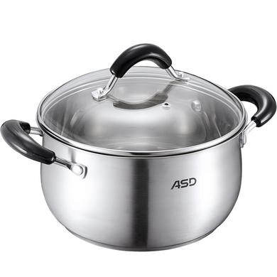 愛仕達ASD湯鍋 304不銹鋼復底加厚22cm煲湯鍋 防燙把手燉鍋  QB1722