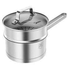 美的(Midea)奶锅 304食品用不锈钢多功能 汤锅 燃磁通用 16CM口径 TG16N1 XW