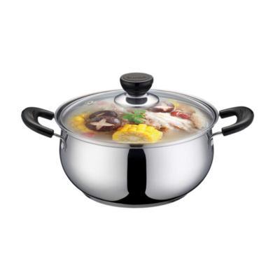 蘇泊爾廚具 304不銹鋼湯鍋20cm復底燉煮鍋火鍋煮面鍋電磁爐鍋具ST20H3