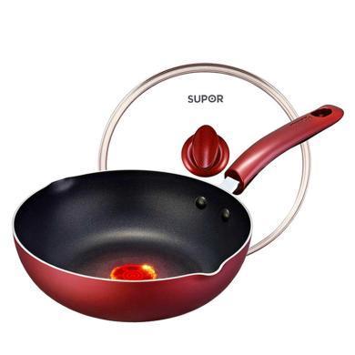 蘇泊爾26cm火紅點深型煎鍋煎炒兩用鍋不粘煎鍋炒鍋明火、電磁爐通用PJ26R4