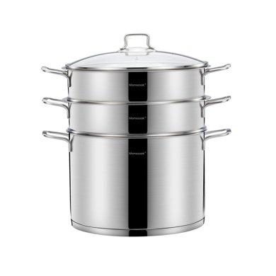momscook慕廚 蒸鍋304不銹鋼2層3層雙層加厚復底電磁爐蒸格蒸籠