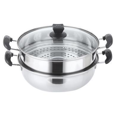 美廚(maxcook)不銹鋼二層蒸鍋 28cm復底火鍋湯鍋多用鍋 燃氣爐電磁爐通用 MCWA561